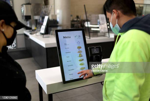 Customer orders from the self-ordering station at the new Taco Bell Cantina in Brookline, MA on Dec. 4, 2020. The new Taco Bell on Boston...