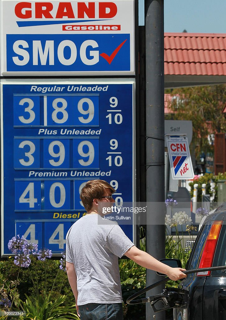 A customer pumps gas into his car at a Grand Gasoline service station July 29, 2011 in Mill Valley, California. The U.S. Commerce Department reported today that the U.S. economy slowed in the second quarter with the GDP coming in at 1.3 percent, far lower than expected.