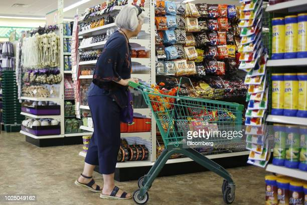 A customer pushes a shopping cart down an aisle at a Dollar Tree Inc store in Louisville Kentucky US on Friday Aug 24 2018 Dollar Tree Inc is...