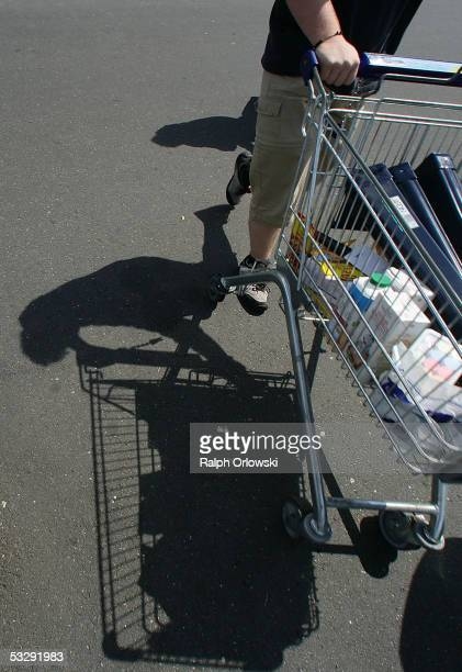 A customer pushes a shopping trolley July 26 2005 in Frankfurt Germany Sparked by the election manifesto of the opposition party CDU Germany...