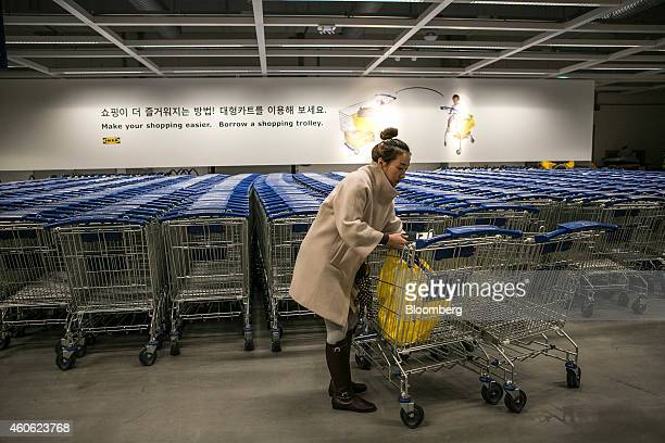 A customer puts an Ikea AB shopping bag in a shopping cart at the company's store in Gwangmyeong Gyeonggi province South Korea on Thursday Dec 18...