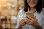 Customer service evaluation concept.