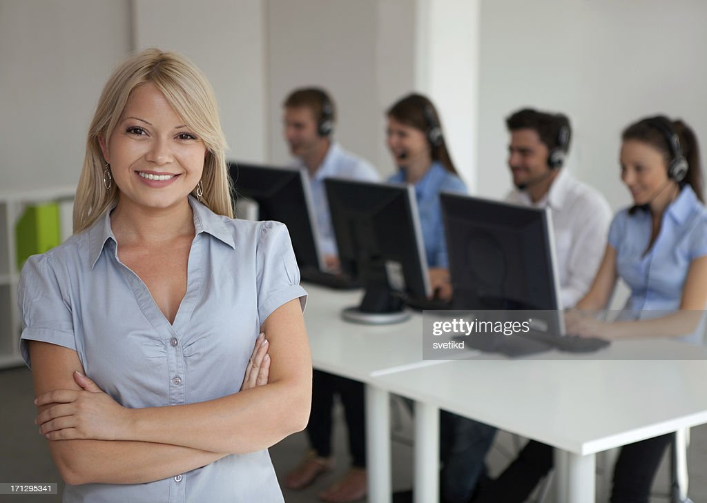 Customer service operator in office : Stock Photo