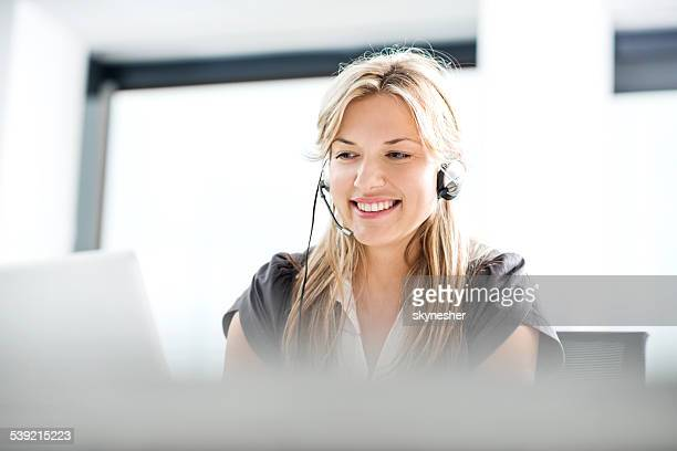 customer service representative. - receptionist stockfoto's en -beelden