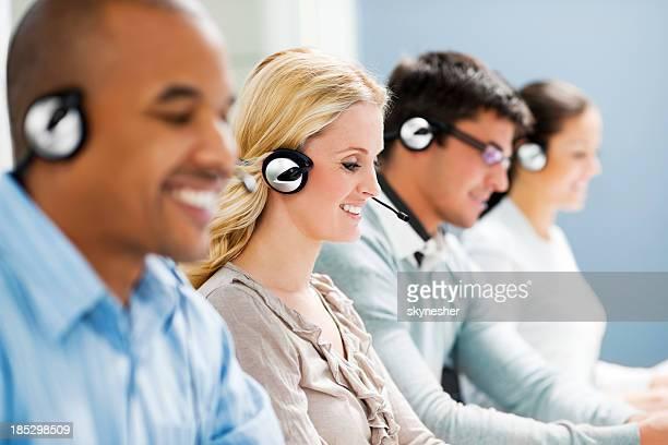 Customer service team in a row.