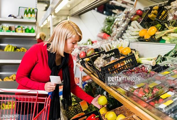 Customer shopping at convenience store