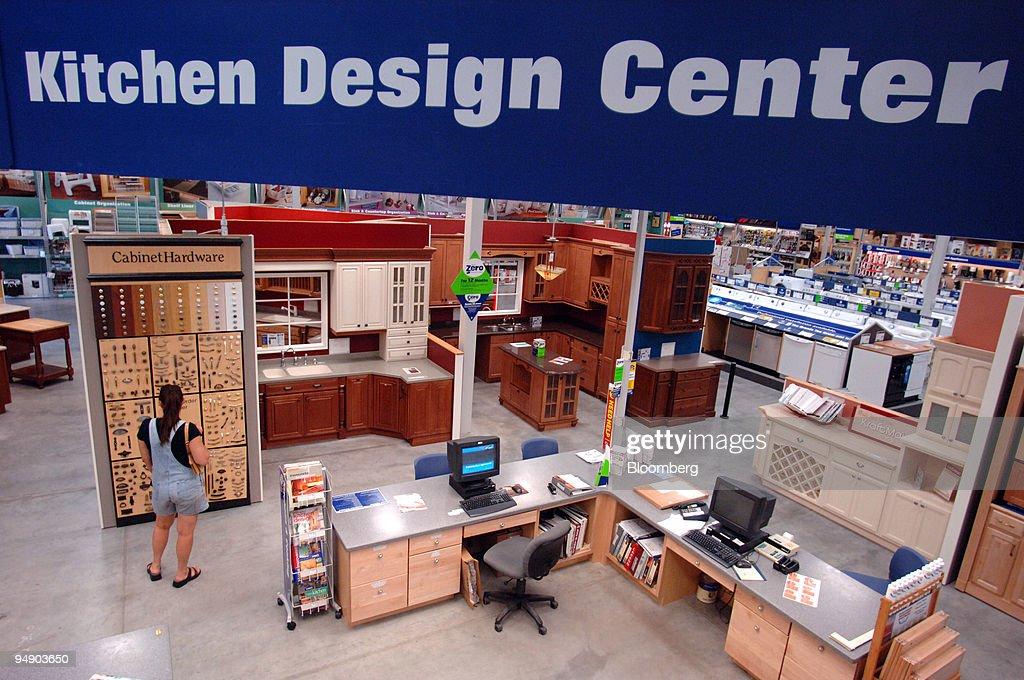 a customer shops inside the kitchen design center area inside a