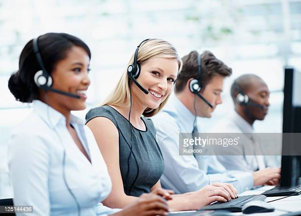 Customer support representatives working