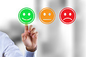 Customer survey feedback, a customer rating with happy icon