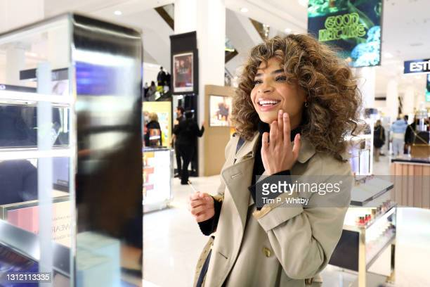 Customer tests make up at Selfridges Store on April 12, 2021 in London, England. England has taken a significant step in easing its lockdown...