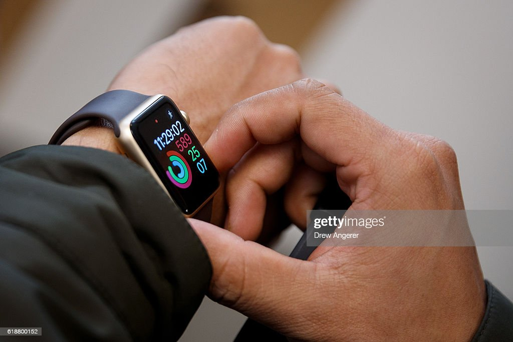 A customer tries out an Apple Watch Nike+ at an Apple Store in the SoHo  neighborhood