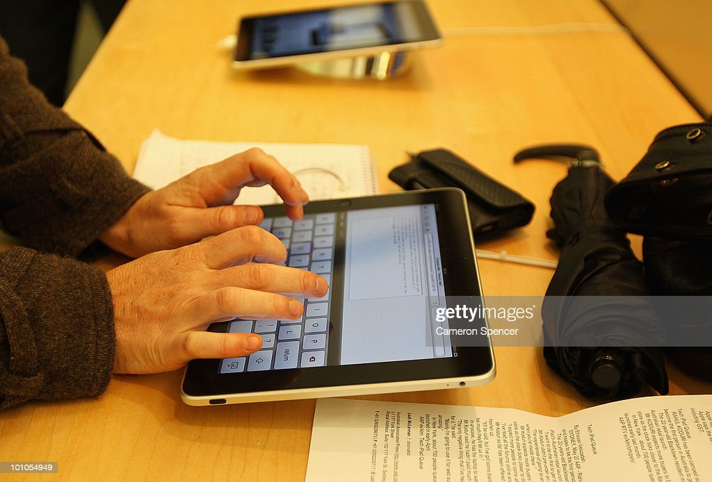 A customer types an email on the iPad at the Apple store on George Street on May 28, 2010 in Sydney, Australia. Apple's new tablet media device went on sale in nine countries around the world today following its launch in the United States in April this year.
