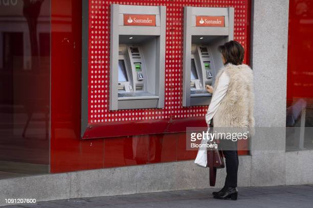 A customer uses an automated teller machine outside a Banco Santander SA bank branch in Madrid Spain on Wednesday Jan 30 2019 Were very very focused...