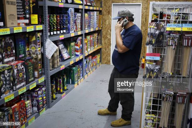 A customer views fireworks displayed for sale at a store in Muldraugh Kentucky US on Wednesday June 27 2018 According to the American Pyrotechnics...