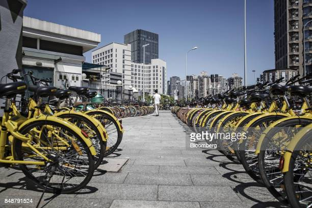 Customer walks between rows of bicycles at a designated parking space outside a subway station in Shanghai, China, on Thursday, Sept. 12, 2017....
