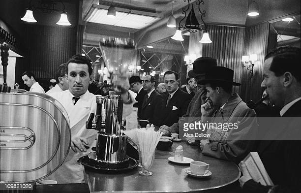 Customers and staff at Forte's coffee bar in Coventry Street London 4th November 1955 Original publlication Picture Post 8628 Coffee Bars unpub
