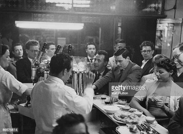 Customers and staff at the Moka Bar Frith Street London 21st August 1954 The Moka is London's first espresso bar Original publication Picture Post...