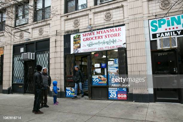 Customers are seen outside the Shwe Myanmar Grocery Store on January 11 2019 in Chicago Illinois Nooraisha and her family escaped violence and...