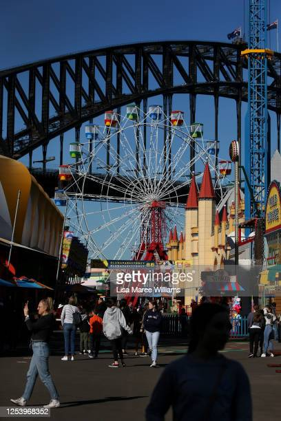 Customers are seen returning to Luna Park on July 03 2020 in Sydney Australia Sydney's Luna Park has reopened to the public following its temporary...