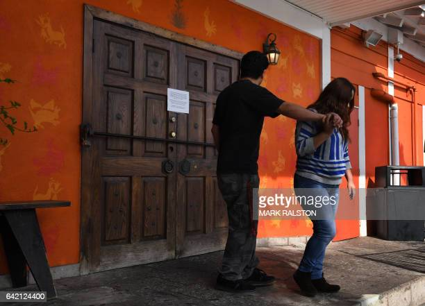 Customers are turned away from the Guelaguetza Mexican restaurant which closed for the day in solidarity with the Day Without Immigrants nationwide...
