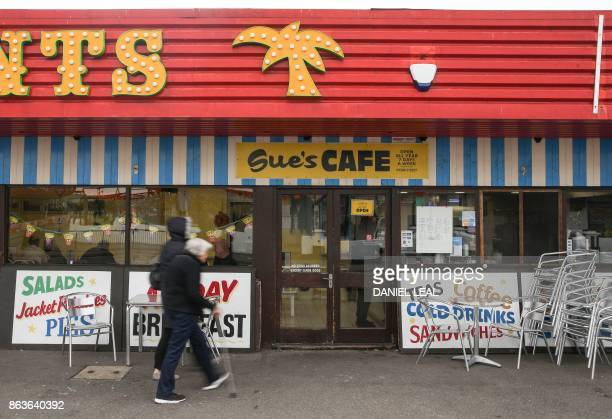 Customers arrivE at Sue's Cafe near the seashore on Canvey Island Essex on October 20 2017 A small island community in the Thames Estuary that voted...