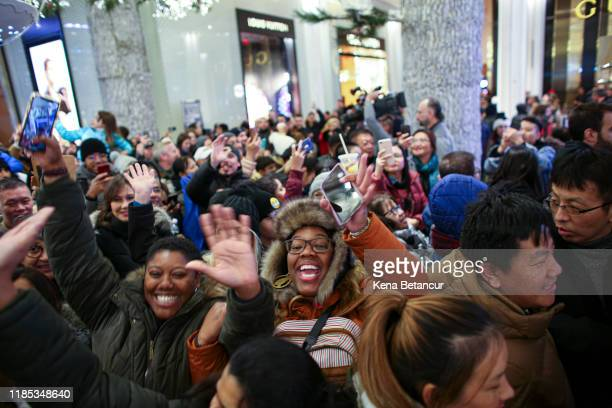 Customers arrive to the Macy's store on 33th street as Black Friday sales start early on November 28, 2019 in New York, United States.