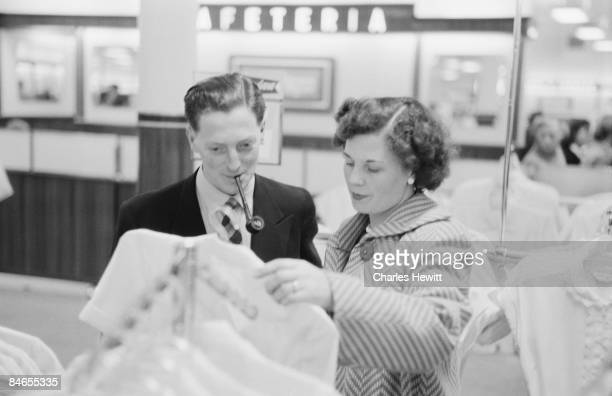 Customers at a Marks Spencer's store 10th September 1955 Original Publication Picture Post 7984 Quality Value And Good Service It Can Be Done pub 1955