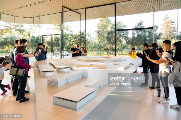 Customers at the Apple Park Visitor Center in Cupertino.