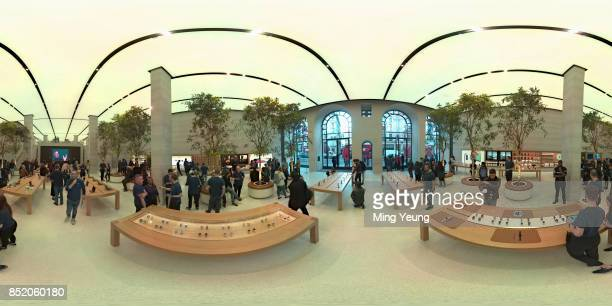 Customers at the Apple Store in Regent Street on the iPhone 8 Apple Watch Series 3 and Apple TV 4K launch on September 22 2017 in London England