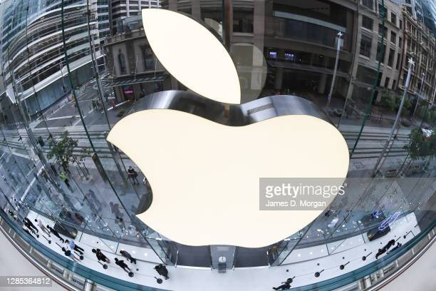 Customers at the Apple Store on George Street on November 13, 2020 in Sydney, Australia. The new iPhone 12 Pro Max and iPhone 12 Mini went on sale at...
