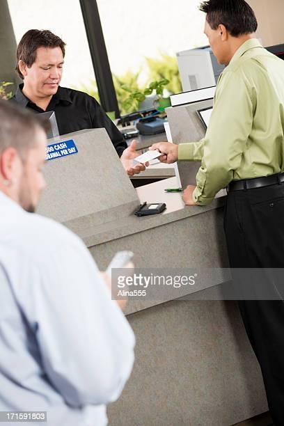 Customers at the bank