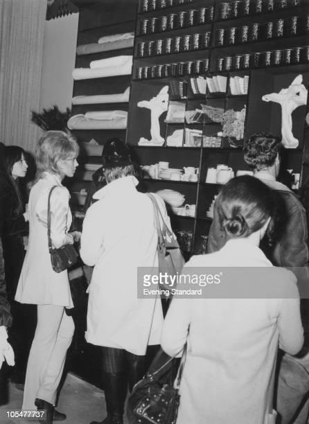 Customers at the Biba fashion boutique on Kensington Church Street London 1965