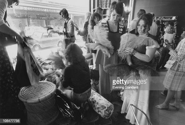 Customers at the closing down sale at the Biba fashion boutique on Kensington High Street London 4th September 1975