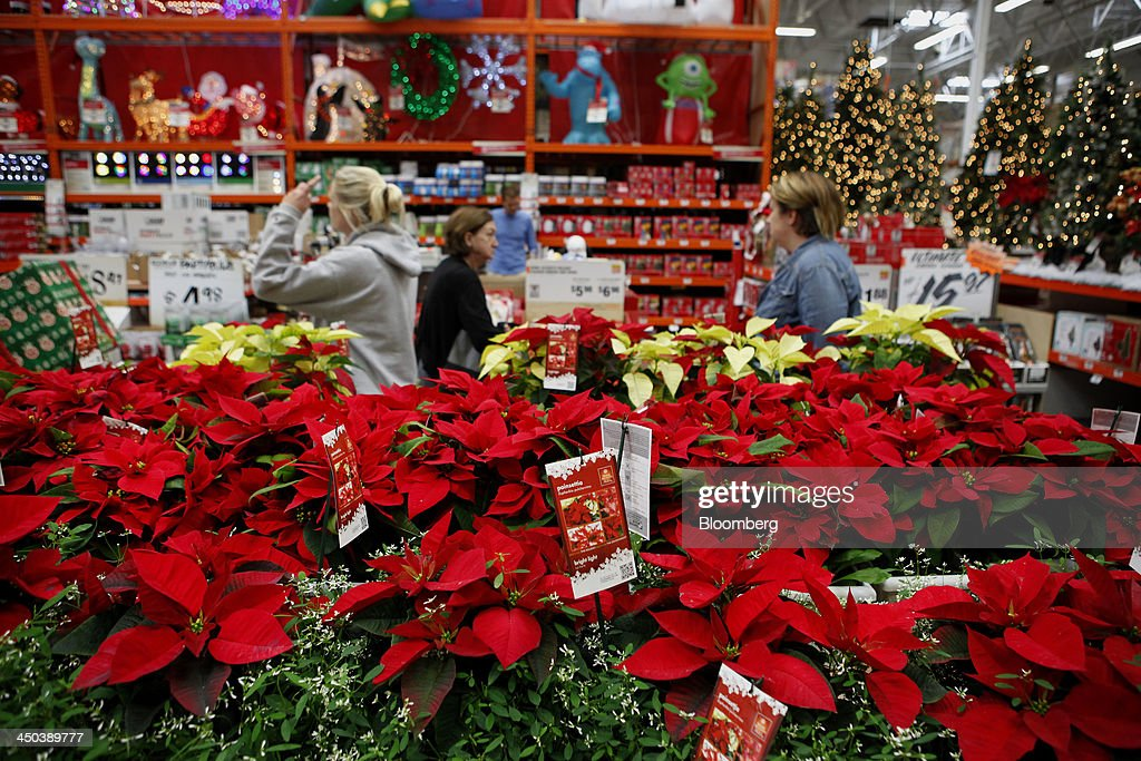 Customers Browse Christmas Decorations While Shopping At A Home Depot News Photo Getty Images