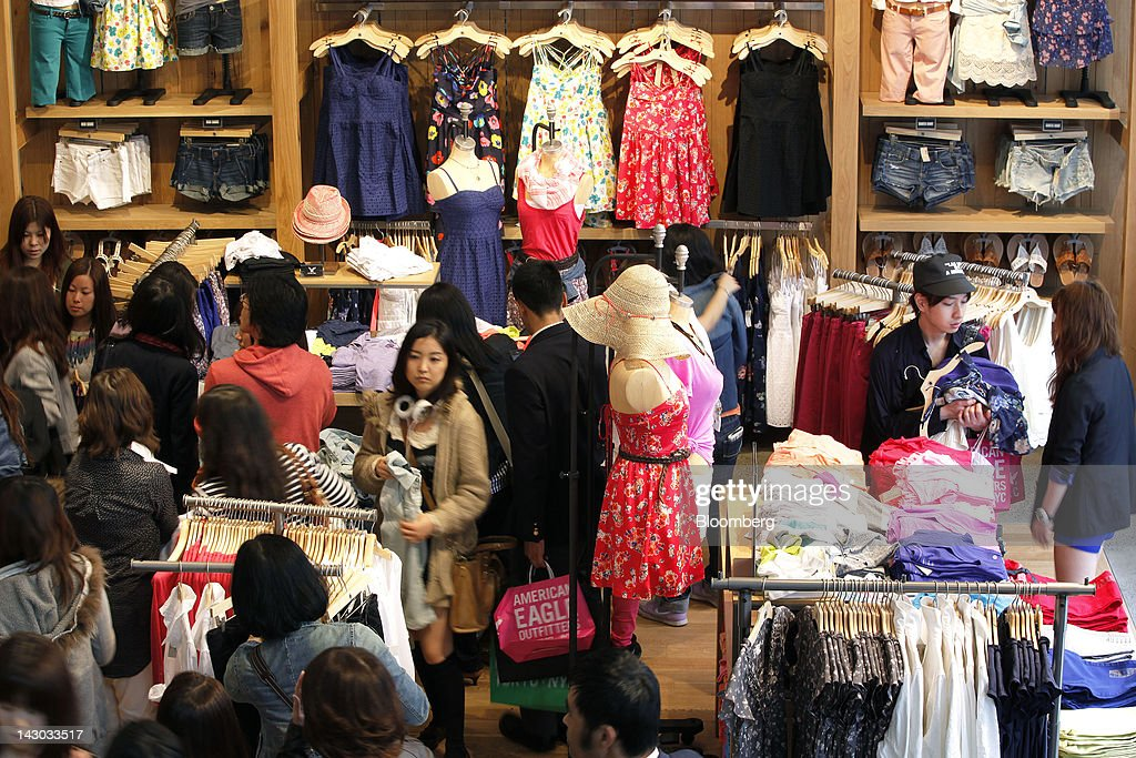 Customers Browse Clothes At An American Eagle Outfitters Inc Store In Tokyo Japan