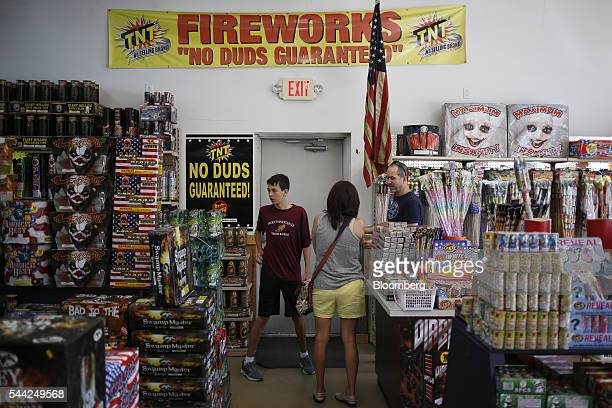 Customers browse the selection at Thunder Sam's fireworks store in Jellico Tennessee US on Friday July 1 2016 Fireworks sales expected to surge this...