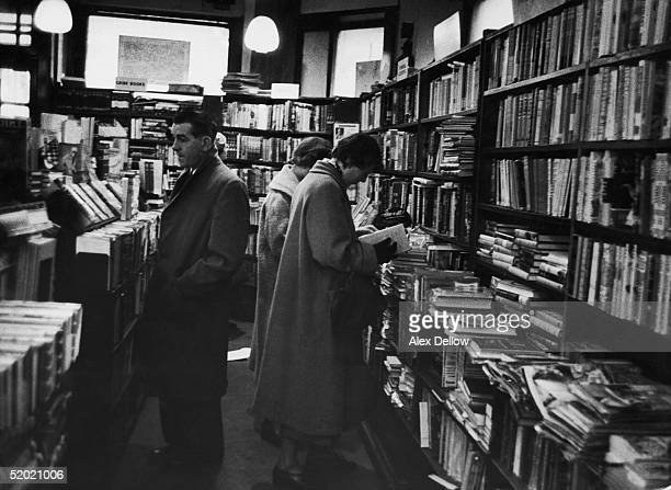 Customers browsing in Foyles' bookshop London November 1955 Original publication Picture Post 8460 The Foyles unpub