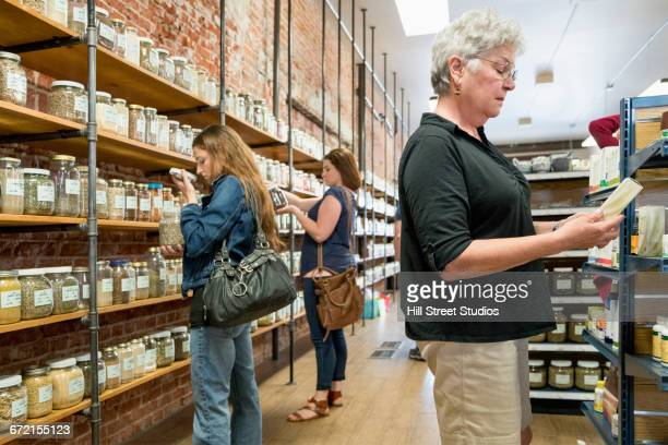 Customers browsing in nutrition store