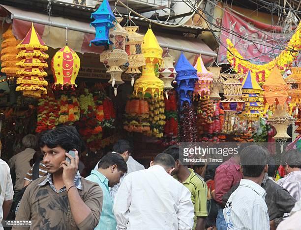 Customers buy decorative items ahead of Diwali at sadar Bazar on October 28 2010 in New Delhi India