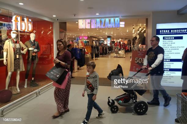 Customers can be seen outside a Big Bazaar outlet in Gurgaon Haryana India on 13 January 2019