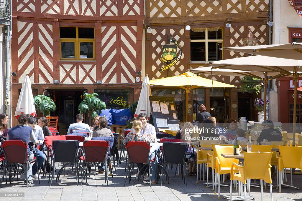 Customers Eating Lunch At Restaurant Amour De Pomme De Terre In Rue