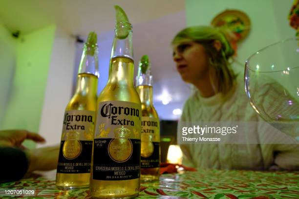 Customers enjoy a Corona Beer in the 'El Mexicanito Bruxelles' a Mexican restaurant in Ixelles on March 13 2020 in Brussels Belgium From March 14 at...
