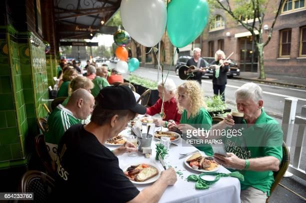 Customers enjoy breakfast in the the Mercantile Australias Longest Running Irish Pub in The Rocks in Sydney on St Patricks Day on March 17 2017 St...