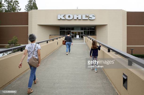 Customers leave a Kohl's store on August 21 2018 in San Rafael California Kohl's reported better than expected second quarter earnings with earnings...
