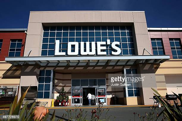 Customers enter a Lowe's home improvement store on November 18 2015 in South San Francisco California Lowe's reported betterthanexpected thirdquarter...