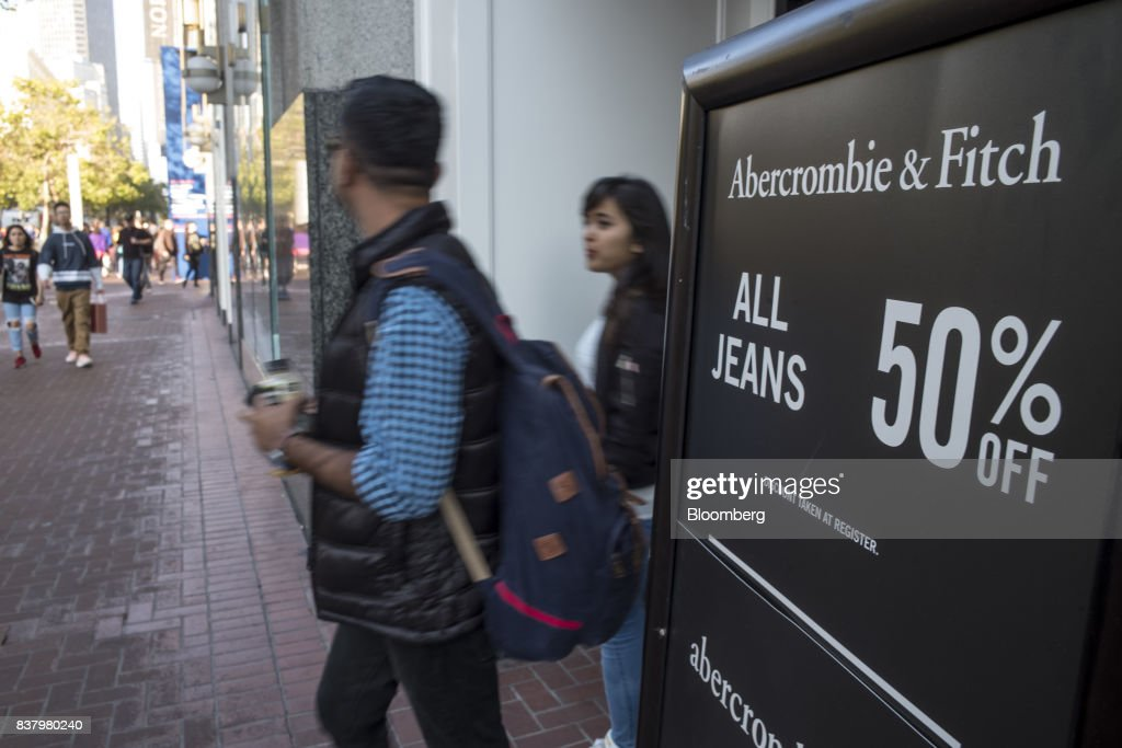 Customers exit an Abercrombie & Fitch Co. store in San Francisco, California, U.S., on Tuesday, Aug. 22, 2017. Abercrombie & Fitch Co. is scheduled to release earnings figures on August 24. Photographer: David Paul Morris/Bloomberg via Getty Images