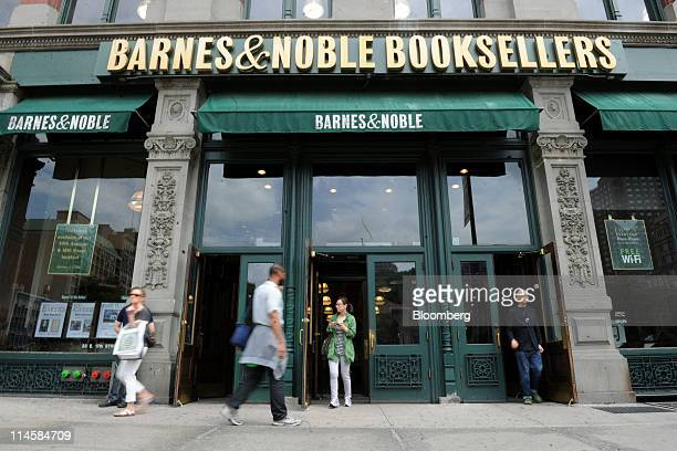 Customers exit Barnes Noble Inc store in New York US on Tuesday May 24 2011 Barnes Noble Inc the target of a $1 billion bid from Liberty Media Corp...