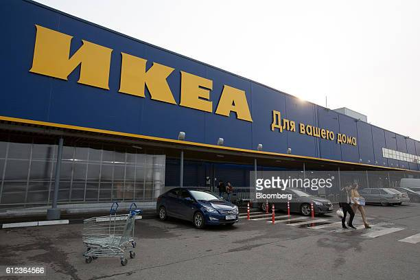 Customers exit the Ikea AB retail store in Khimki Russia on Monday Oct 3 2016 Ikea's Russia unit may spend 100 billion rubles over 57 years to...