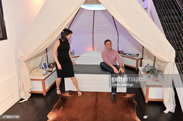 Customers expeience the comfort of the new Casper mattress at the Casper Hosts Snooze Bar event on June 10 2015 in San Francisco California Photo by...