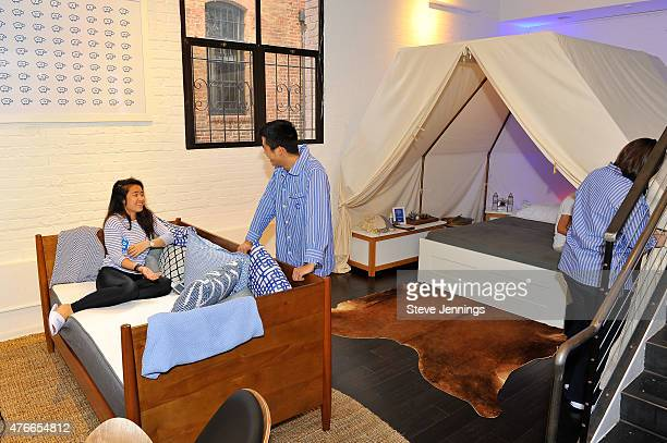 Customers expeience the comfort of the new Casper mattress at the Casper Hosts Snooze Bar event on June 10 2015 in San Francisco California